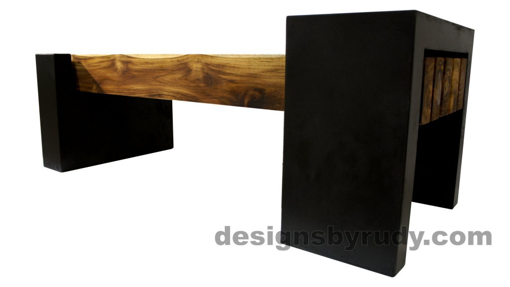 DRCB2 Concrete bench with 5 teak logs top, Designs by Rudy design and fabrication, rear-low angle view