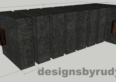Concrete and teak segmented bench (1) Dimensions