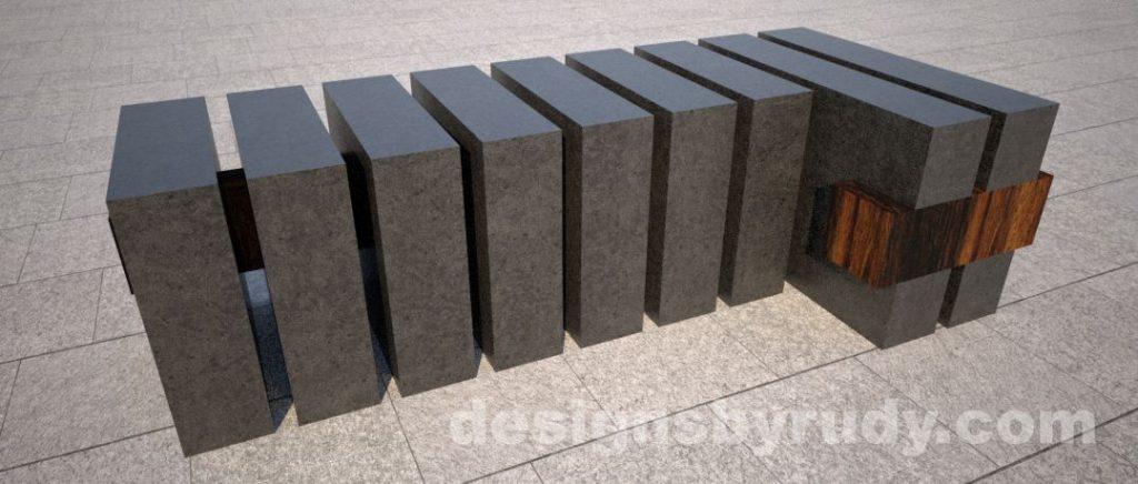 Concrete and teak segmented bench (2)