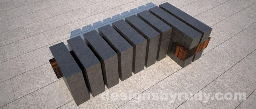 Concrete and teak segmented bench (3)