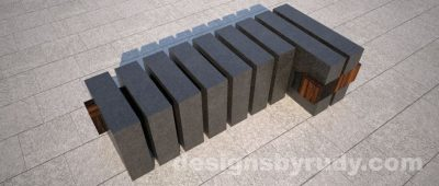 Concrete and teak segmented bench (3)