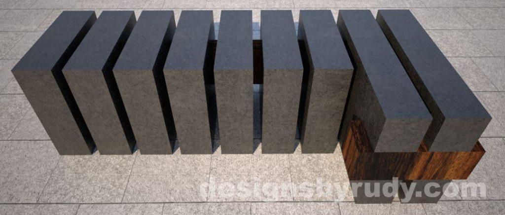 Concrete and teak segmented bench (4)