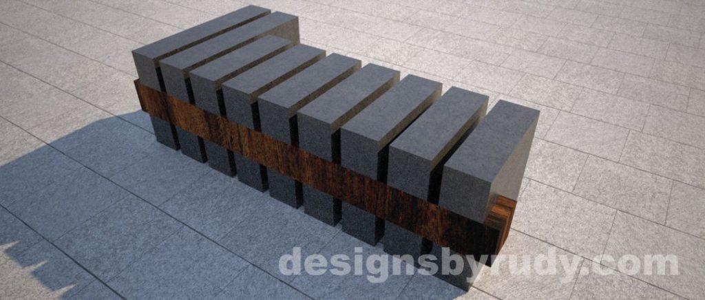 Concrete and teak segmented bench (5)
