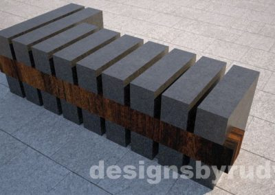 Concrete and teak segmented bench (5)