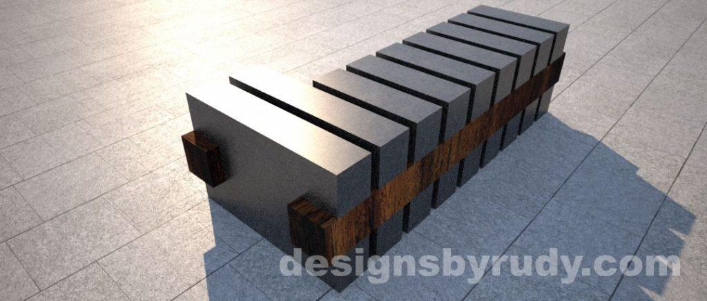 Concrete and teak segmented bench (7)