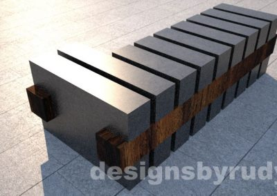 Concrete and teak segmented bench (7)