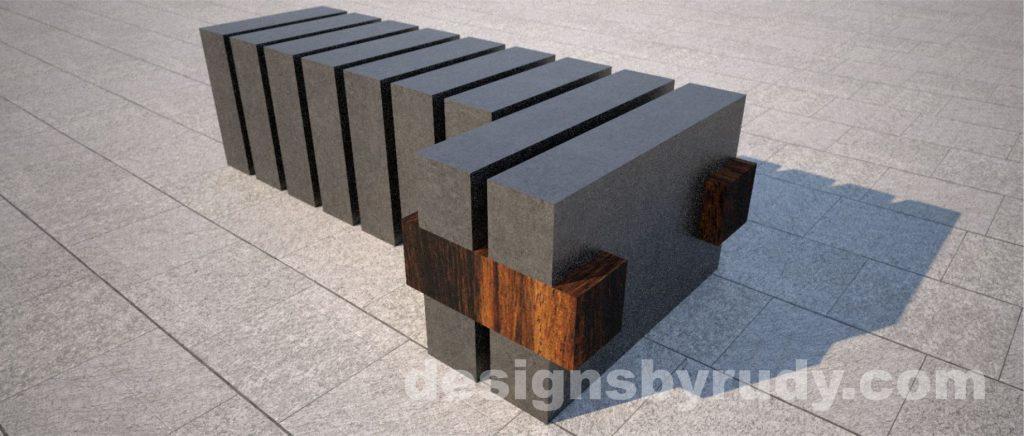 Concrete and teak segmented bench (8)