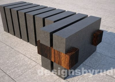 Concrete and teak segmented bench (8)