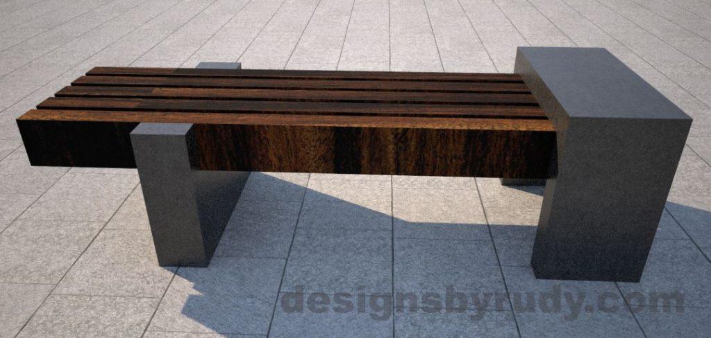 Concrete legs and teak top bench 0