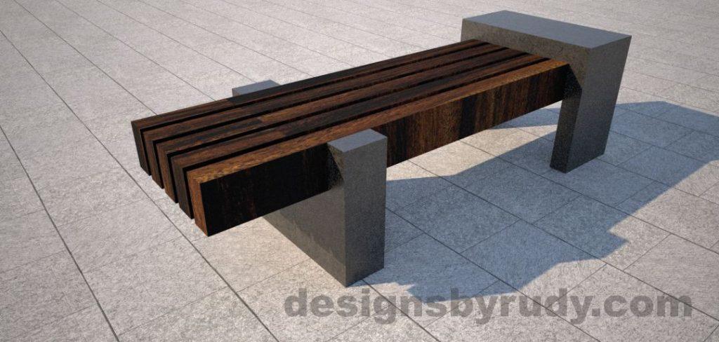 Concrete legs and teak top bench 1
