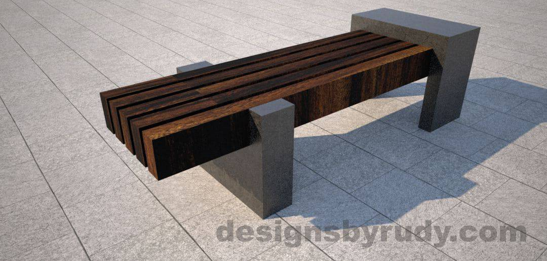 Concrete legs and teak top bench 1