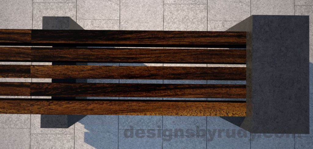 Concrete legs and teak top bench 4