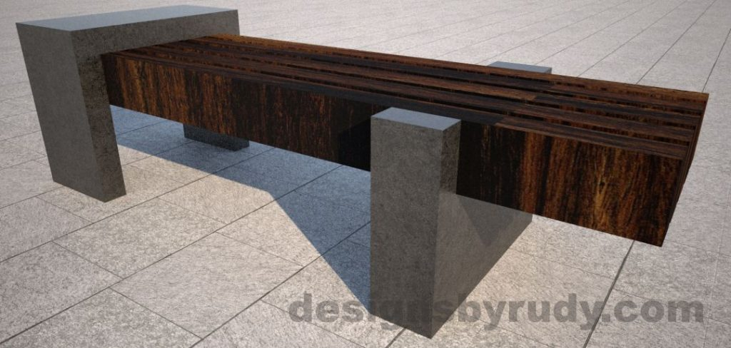 Concrete legs and teak top bench 5