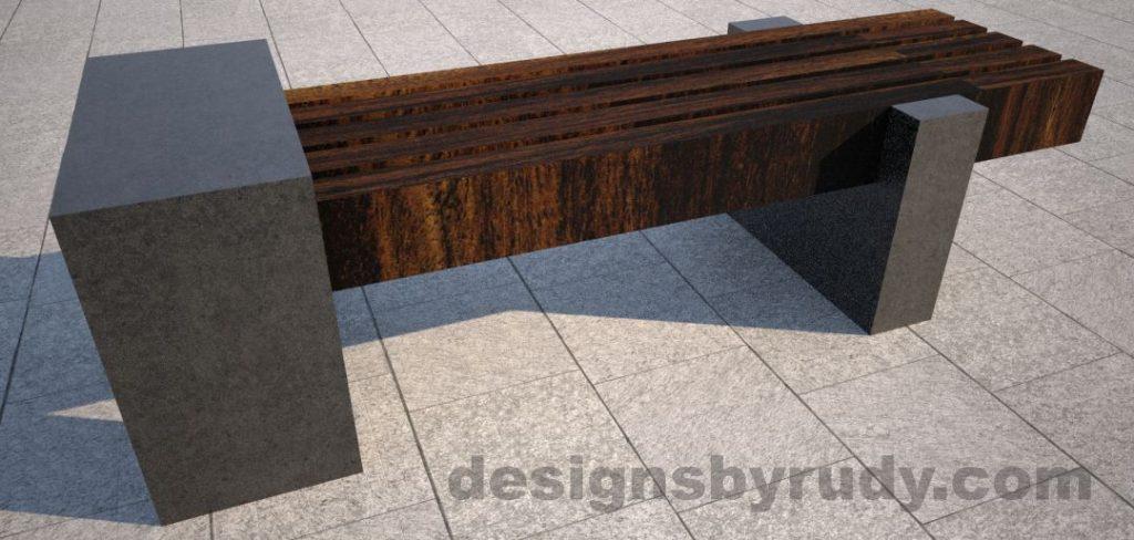 Concrete legs and teak top bench 6