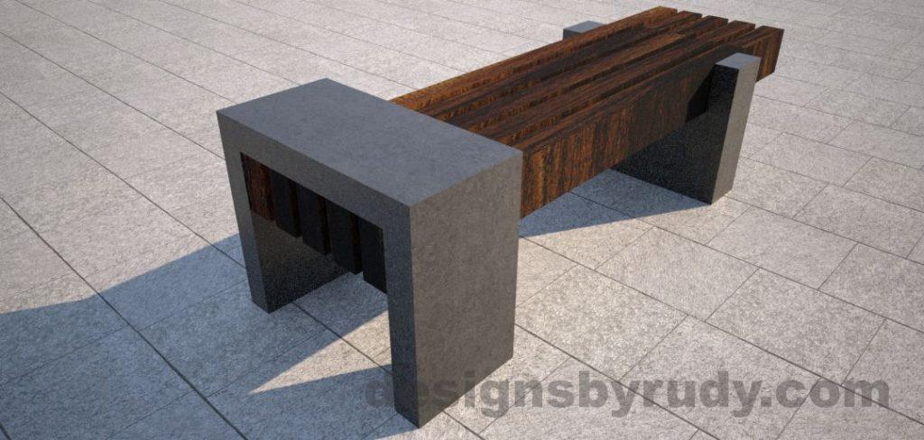 Concrete legs and teak top bench 7