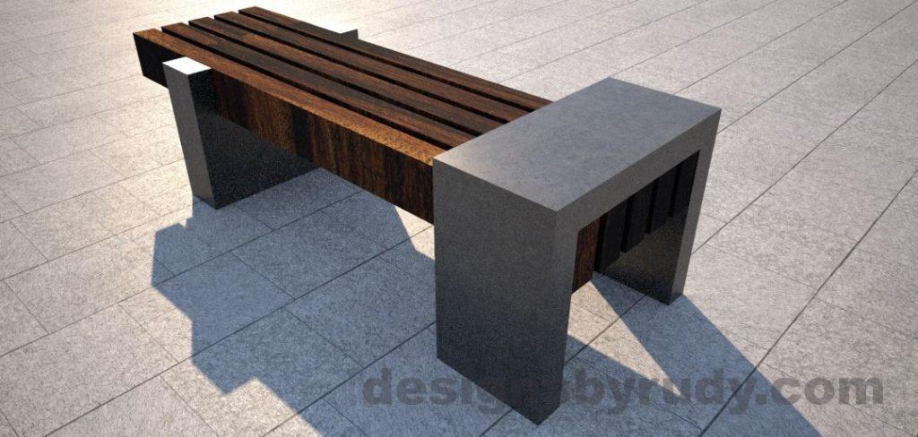 Concrete legs and teak top bench 8