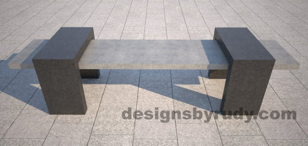 1 Concrete Bench Suspended, by Designs by Rudy, front