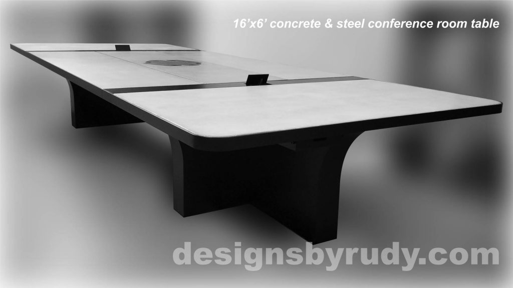 Concrete and Steel Conference Room Table for Markforged finished right view Designs by Rudy
