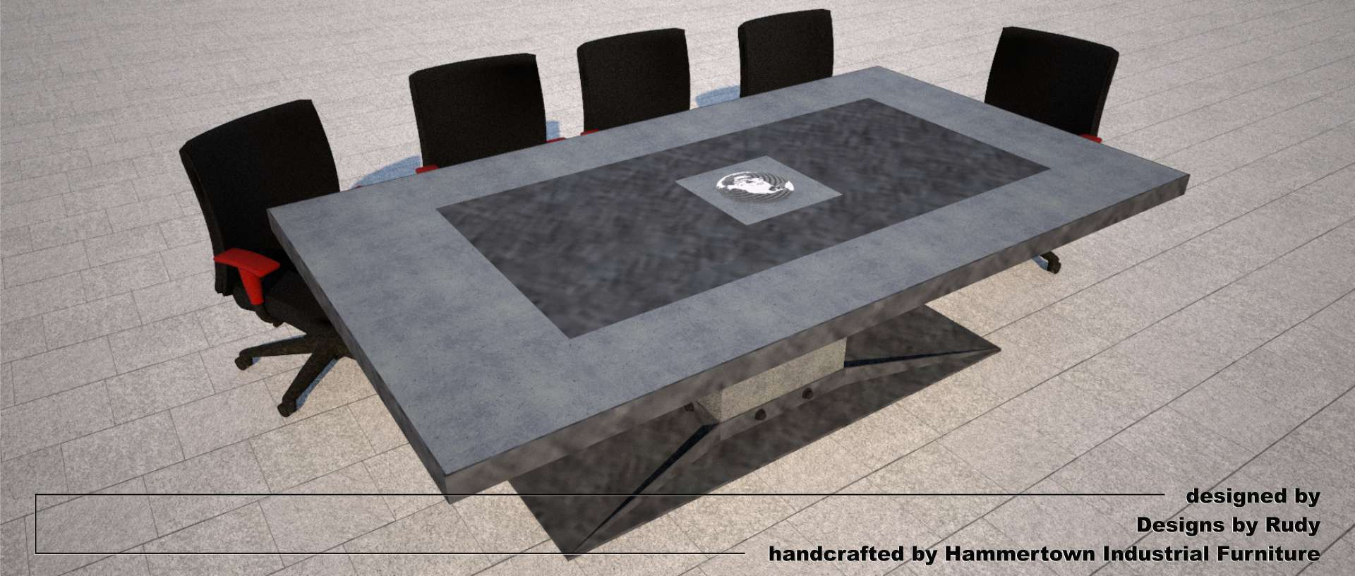 Concrete boardroom table for NAC with steel frame and base designed by Designs by Rudy