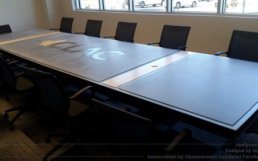 Concrete Top and I-Beam Frame Conference Room Table