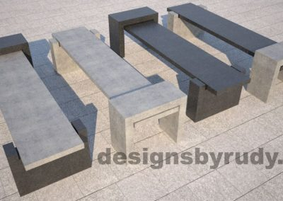 DR CB 4 Concrete bench, four color combinations side by side