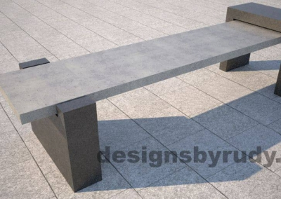 DR CB 4 Concrete bench, open and closed supports