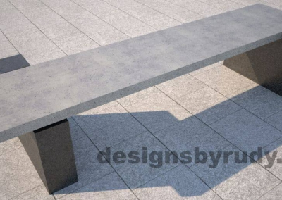 DR CB 5 Concrete bench, two open supports, front angle view