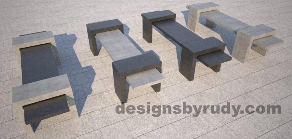 10 Concrete Bench Suspended, by Designs by Rudy, 4 benches 1