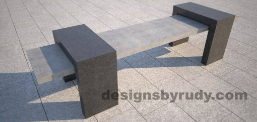 2 Concrete Bench Suspended, by Designs by Rudy, front angle