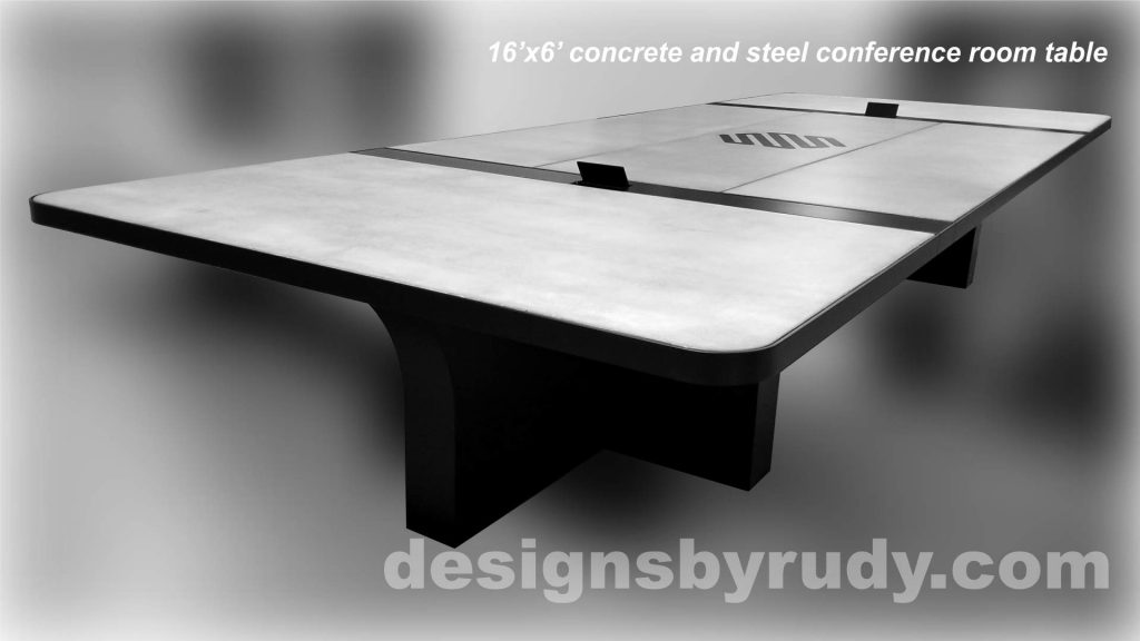 Concrete and Steel Conference Room Table for Markforged finished left view Designs by Rudy
