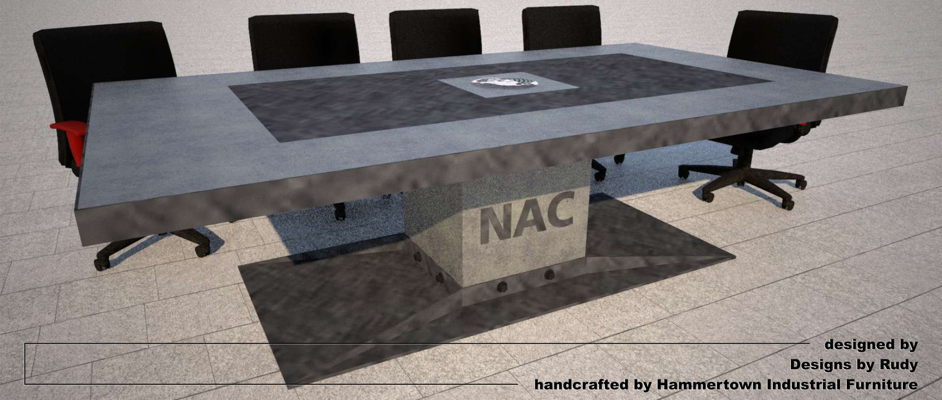 Concrete boardroom table for NAC with steel frame and base designed by Designs by Rudy, front angle view