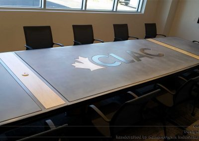 Concrete top and steel frame conference room table designed by Desings by Rudy right view