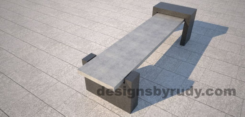 DR CB 4 Concrete bench, open and closed supports, top angle view