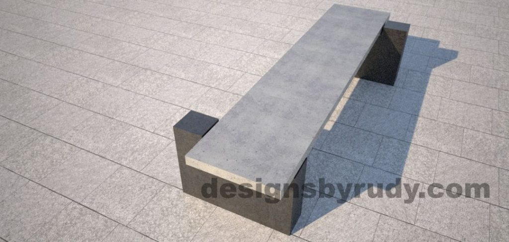 DR CB 5 Concrete bench, two open supports, top angle view