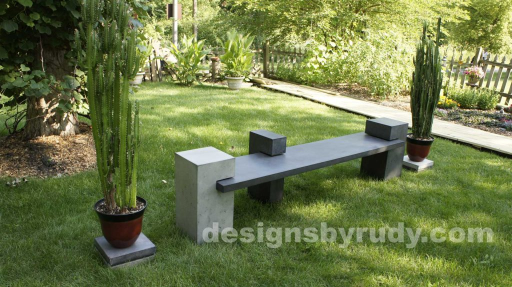 DR CB1 concrete bench on 3 pedestals by Designs by Rudy,garden, natural light, top angle view
