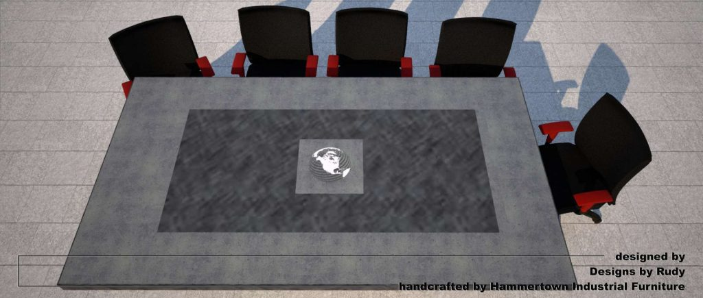 Concrete boardroom table for NAC with steel frame and base designed by Designs by Rudy, top view
