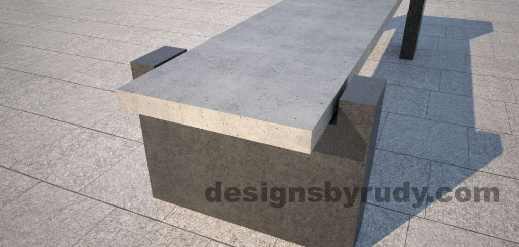 DR CB 4 Concrete bench, open and closed supports. open support angle view