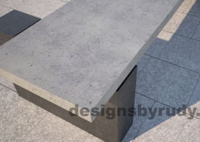DR CB 5 Concrete bench, two open supports, angle closeup