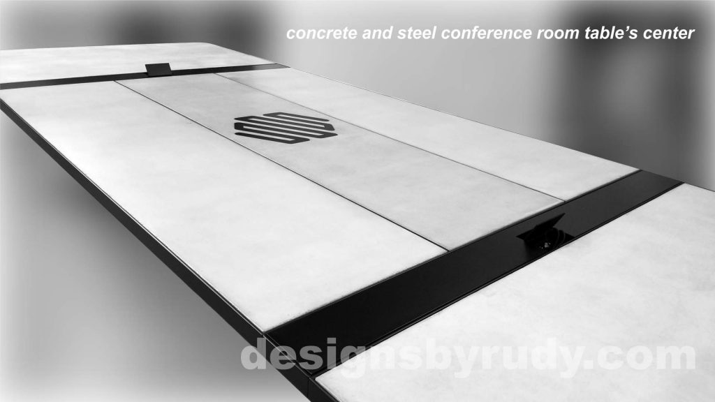 Concrete and Steel Conference Room Table for Markforged finished table center, Designs by Rudy