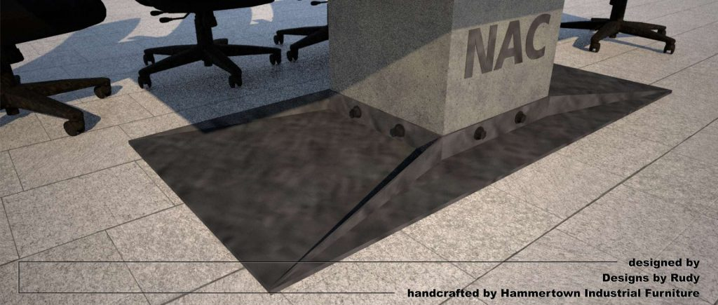 Concrete boardroom table for NAC with steel frame and base designed by Designs by Rudy, center support base view