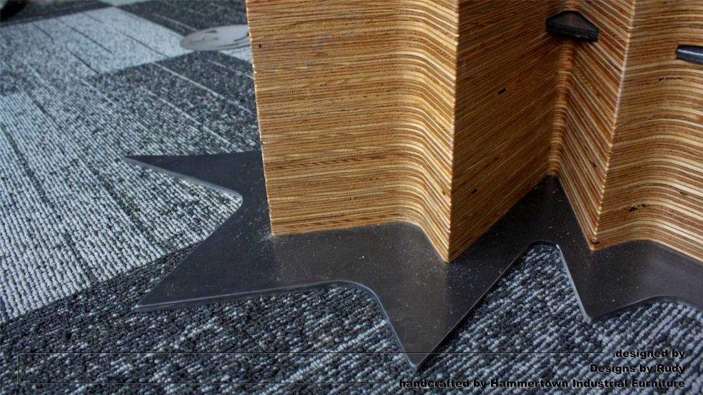 Concrete top and steel frame conference room table designed by Desings by Rudy wooden leg bottom detail