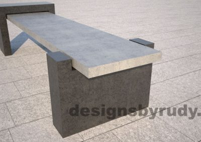 DR CB 4 Concrete bench, open and closed supports. open support corner view