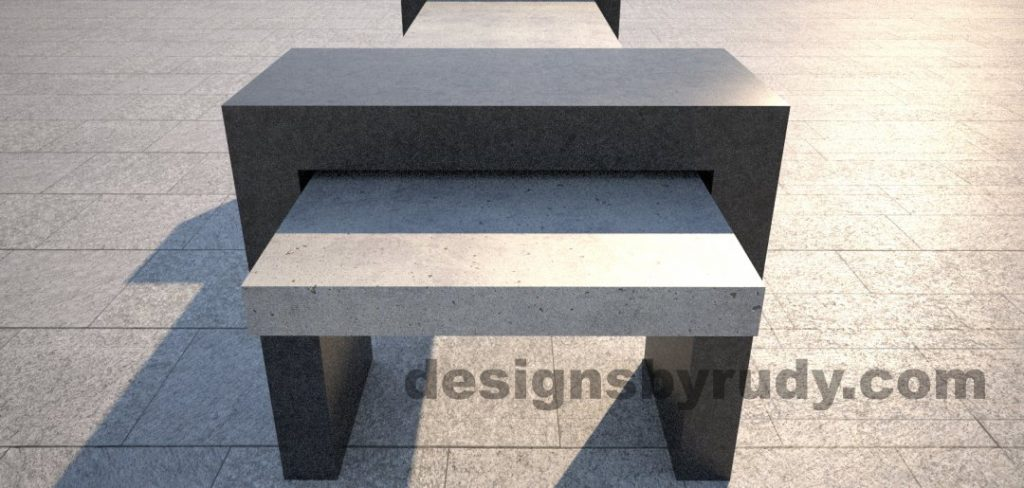 5 Concrete Bench Suspended, by Designs by Rudy, short edge