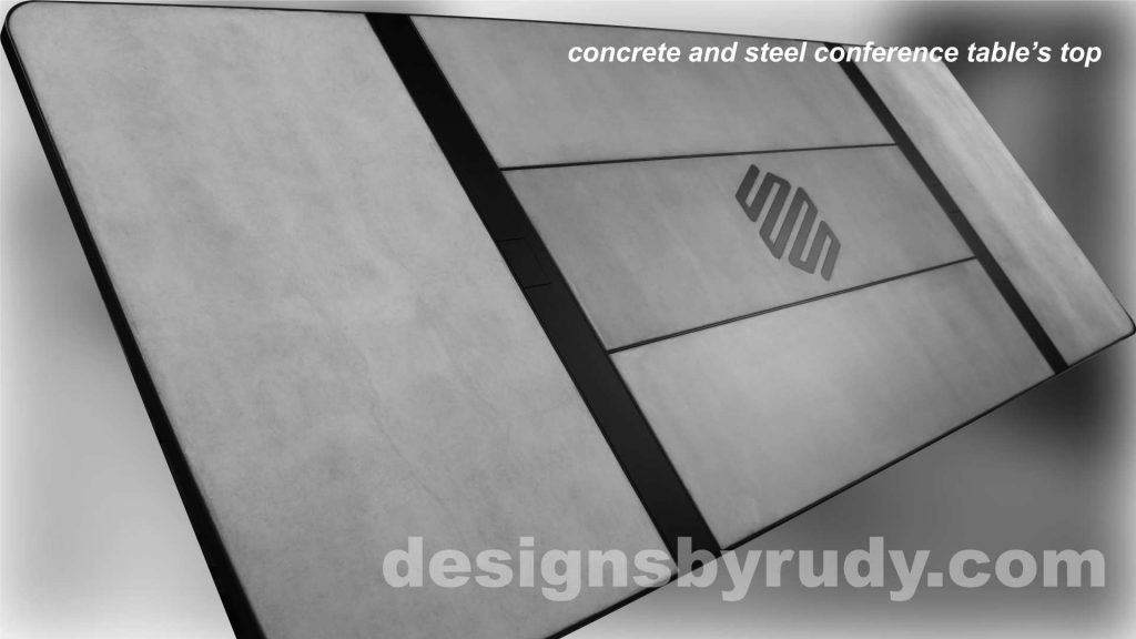 Concrete and Steel Conference Room Table for Markforged top view Designs by Rudy