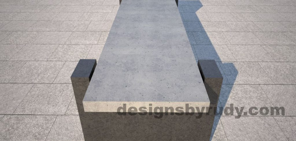 DR CB 4 Concrete bench, open and closed supports. open support front view