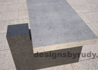 DR CB 5 Concrete bench, two open supports, short edge closeup