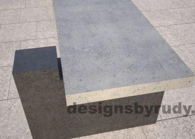 DR CB 5 Concrete bench, two open supports, short edge closeup
