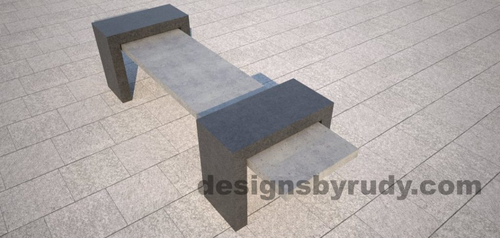 6 Concrete Bench Suspended, by Designs by Rudy, angle 2