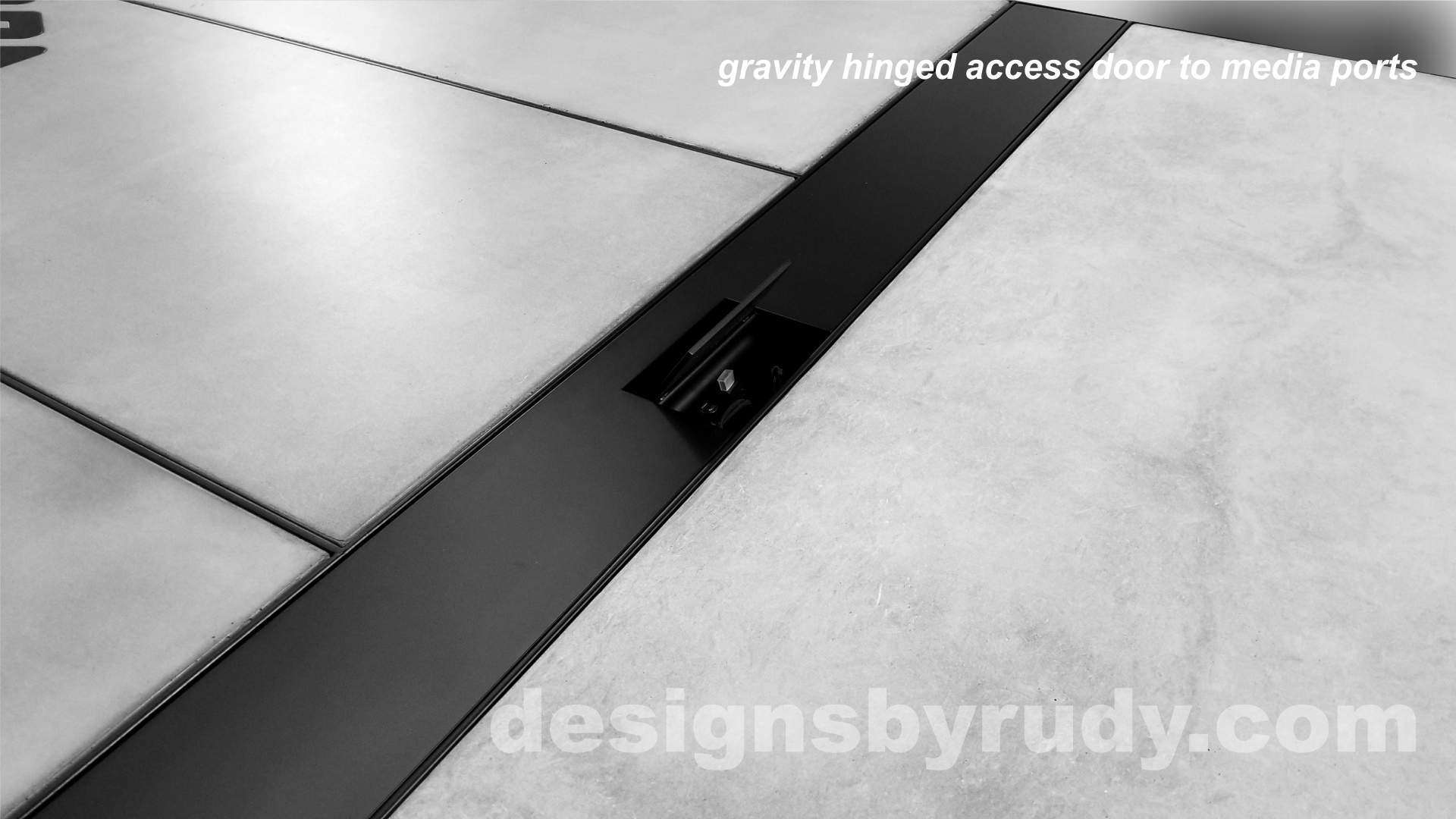 6 Concrete and Steel Conference Room Table for Markforged gravity hinged media ports access door Designs by Rudy