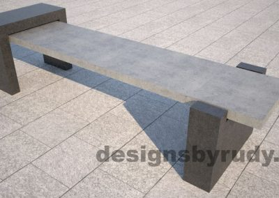 DR CB 4 Concrete bench, open and closed supports. side angle view